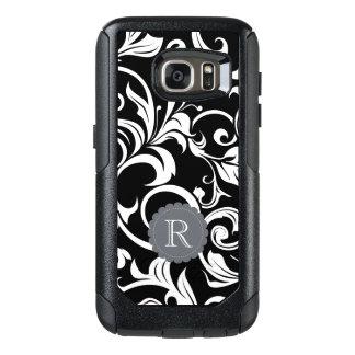 Funda Otterbox Para Samsung Galaxy S7 Monograma blanco negro moderno del remolino del