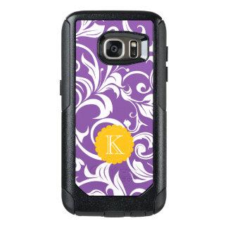 Funda Otterbox Para Samsung Galaxy S7 Monograma púrpura bonito del remolino del papel