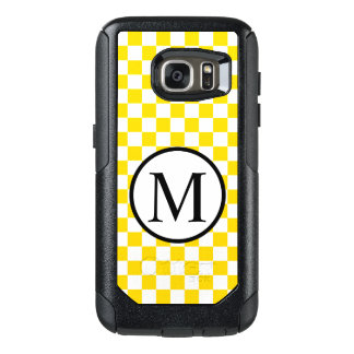 Funda Otterbox Para Samsung Galaxy S7 Monograma simple con el tablero de damas amarillo