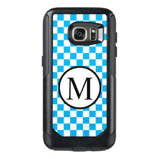 Funda Otterbox Para Samsung Galaxy S7 Monograma simple con el tablero de damas azul