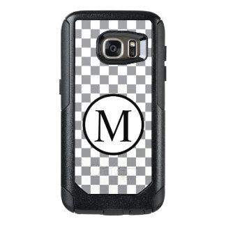 Funda Otterbox Para Samsung Galaxy S7 Monograma simple con el tablero de damas gris