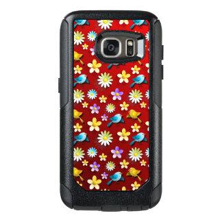 Funda Otterbox Para Samsung Galaxy S7 Pájaros y flores de la primavera roja
