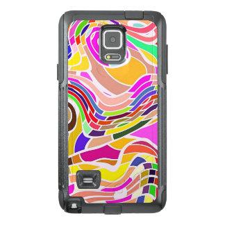 Funda OtterBox Para Samsung Note 4 Arte abstracto colorido, líneas blancas de las