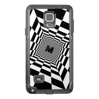 Funda OtterBox Para Samsung Note 4 Ilusión, monograma o inicial visual negro y blanco