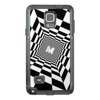 Funda OtterBox Para Samsung Note 4 Ilusión óptica negra y blanca, monograma blanco