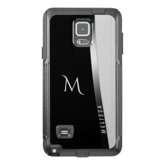 Funda OtterBox Para Samsung Note 4 Plata blanca negra elegante, nombre y monograma