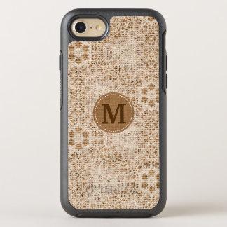 Funda OtterBox Symmetry Para iPhone 8/7 Arpillera y cordón rústicos con el monograma