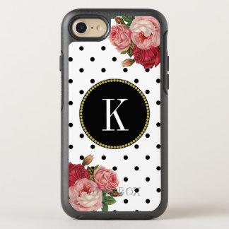 Funda OtterBox Symmetry Para iPhone 8/7 El blanco negro fresco puntea el monograma floral
