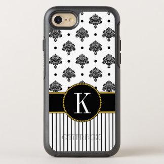 Funda OtterBox Symmetry Para iPhone 8/7 El damasco blanco negro elegante raya el monograma