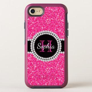 Funda OtterBox Symmetry Para iPhone 8/7 Hermoso con monograma del purpurina rosado