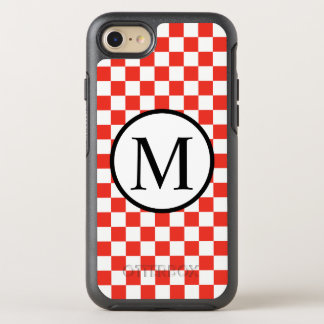 Funda OtterBox Symmetry Para iPhone 8/7 Monograma simple con el tablero de damas rojo