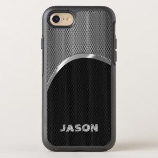 Funda OtterBox Symmetry Para iPhone 8/7 Negro del monograma y modelo metálico de plata del