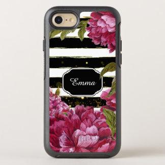 Funda OtterBox Symmetry Para iPhone 8/7 Raya blanca negra floral del Peony rosado
