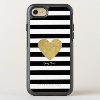 Funda OtterBox Symmetry Para iPhone 8/7 Rayas negras y blancas con el corazón de la hoja