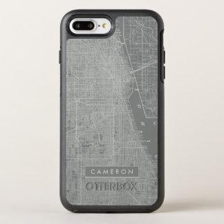 Funda OtterBox Symmetry Para iPhone 8 Plus/7 Plus Bosquejo del mapa de la ciudad de Chicago