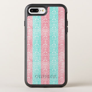 Funda OtterBox Symmetry Para iPhone 8 Plus/7 Plus Damasco azul Kawaii del rosa brillante de la