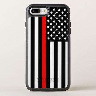 Funda OtterBox Symmetry Para iPhone 8 Plus/7 Plus Línea roja fina símbolo de la bandera americana en