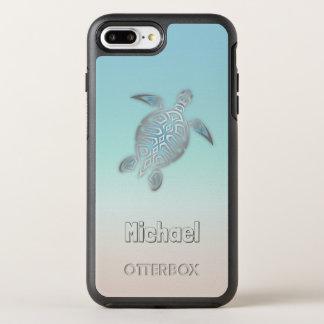 Funda OtterBox Symmetry Para iPhone 8 Plus/7 Plus Monograma de plata de las tortugas de mar