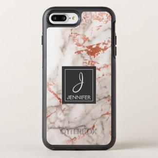 Funda OtterBox Symmetry Para iPhone 8 Plus/7 Plus Monograma elegante del mármol color de rosa rosado