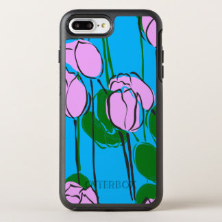 Funda OtterBox Symmetry Para iPhone 8 Plus/7 Plus Tulipanes rosados dibujados mano en azul de cielo