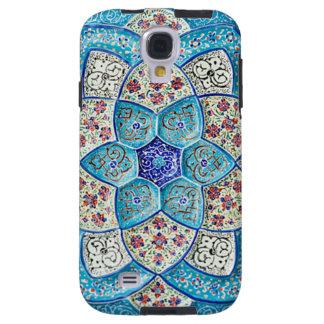 Funda Para Galaxy S4 Azules turquesas marroquíes tradicionales, blanco,