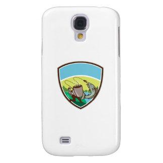 Funda Para Galaxy S4 Escudo de color salmón de la taza del pescador de