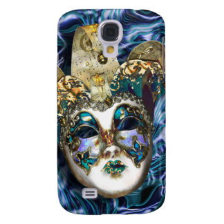 Funda Para Galaxy S4 Mascarada veneciana azul del oro de la máscara