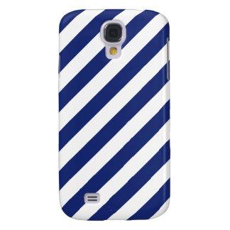 Funda Para Galaxy S4 Modelo diagonal del azul marino y blanco de las