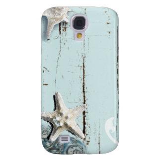 Funda Para Galaxy S4 Seashells azules de las estrellas de mar de la