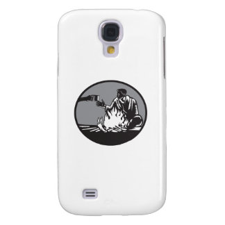 Funda Para Galaxy S4 Taza de la hoguera del campista de grabar en