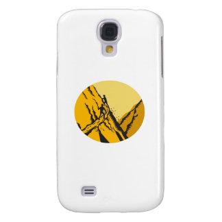 Funda Para Galaxy S4 Vagabundos que suben el grabar en madera escarpado