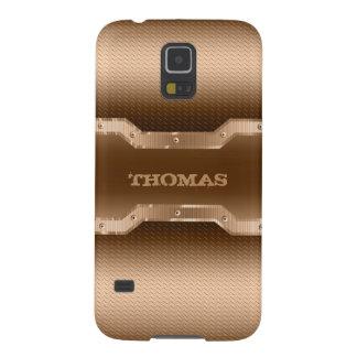 Funda Para Galaxy S5 El oro y Brown de moda cepillaron mirada del metal