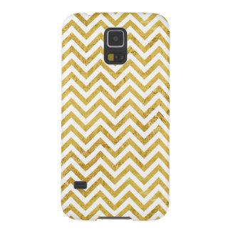 Funda Para Galaxy S5 El zigzag elegante de la hoja de oro raya el