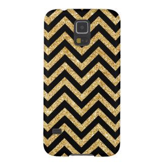 Funda Para Galaxy S5 El zigzag negro del brillo del oro raya el modelo