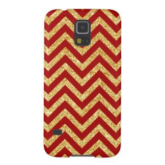 Funda Para Galaxy S5 El zigzag rojo del brillo del oro raya el modelo