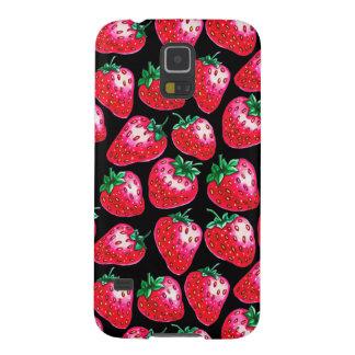 Funda Para Galaxy S5 Fresa roja en fondo negro