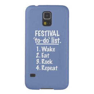 Funda Para Galaxy S5 Lista del lío del ` del festival' (blanca)