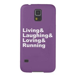 Funda Para Galaxy S5 Living&Laughing&Loving&RUNNING (blanco)