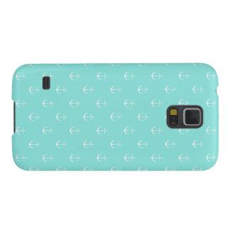 Funda Para Galaxy S5 Menta y ancla blanca, caja del teléfono de la