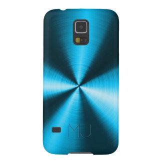 Funda Para Galaxy S5 Mirada-Monograma azul metálico del acero