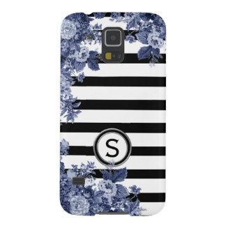 Funda Para Galaxy S5 Monograma floral del adorno del añil blanco negro
