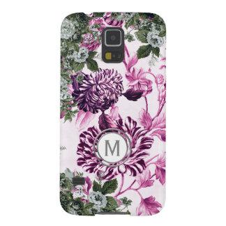 Funda Para Galaxy S5 Monograma floral del jardín de la profusión rosada