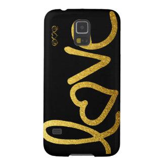 Funda Para Galaxy S5 Negro y amor del oro
