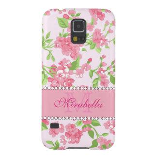 Funda Para Galaxy S5 Nombre de ramas rosado del flor de la acuarela de