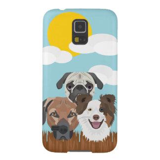 Funda Para Galaxy S5 Perros afortunados del ilustracion en una cerca de