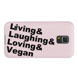 Funda Para Galaxy S5 Vida y risa y amor y vegano (negro)