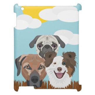Funda Para iPad 2, 3, 4 Perros afortunados del ilustracion en una cerca de
