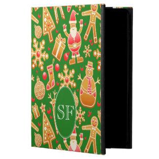Funda Para iPad Air 2 Monograma festivo del pan de jengibre de Santa y