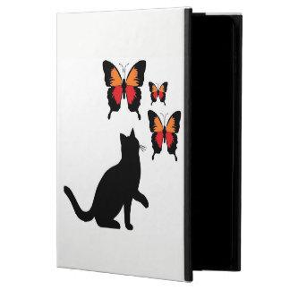 Funda Para iPad Air 2 Relleno el gato negro y mariposas hermosos de la