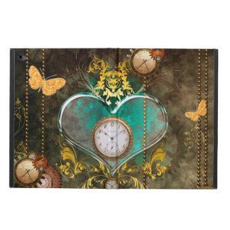 Funda Para iPad Air 2 Steampunk, corazón maravilloso con los relojes